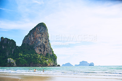 Buy stock photo Shot of an idyllic tropical beach with no people