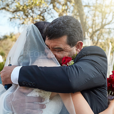 Buy stock photo Cropped shot of a father hugging his daughter on her wedding day