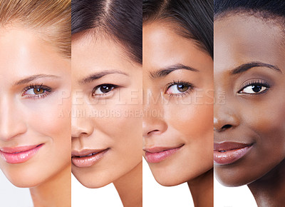 Buy stock photo Shot of woman with different skintones superimposed over each other in the studio