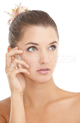 Buy stock photo A beautiful young woman with her hands on her face