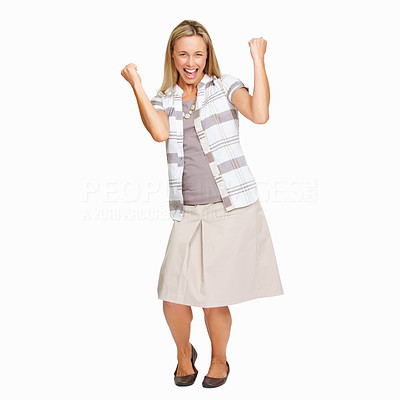 Buy stock photo Full length of business woman celebrating success with clenched fists on white background
