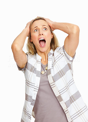 Buy stock photo Surprised mature business woman with hands on head over white background