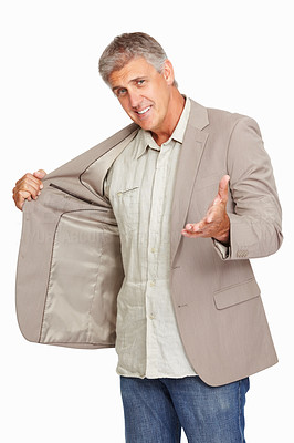 Buy stock photo Studio shot of a mature man showing off his new jacket against a white background