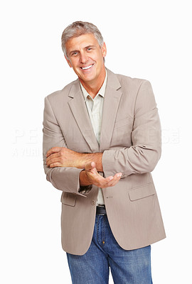 Buy stock photo Studio shot of a mature man extending his arm to shake your hand against a white background