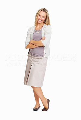 Buy stock photo Full length of beautiful business woman smiling on white background