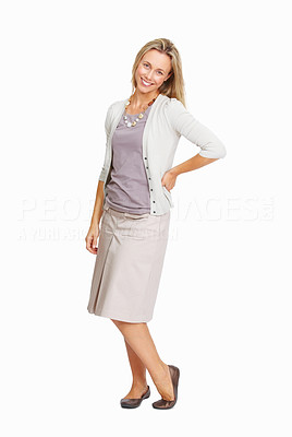 Buy stock photo Full length of cheerful business woman smiling over white background
