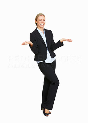 Buy stock photo Full length of business woman gesturing don't know what to do on white background