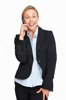 Buy stock photo Portrait of happy business woman on phone call over white background