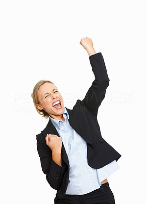Buy stock photo Happy Caucasian business woman celebrating her victory isolated on white background