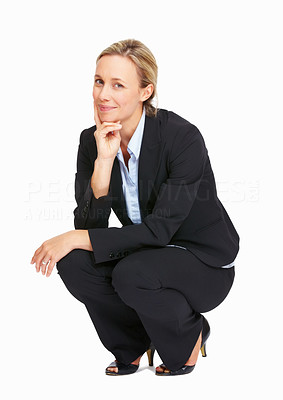 Buy stock photo Full length of pretty business woman crouching on white background