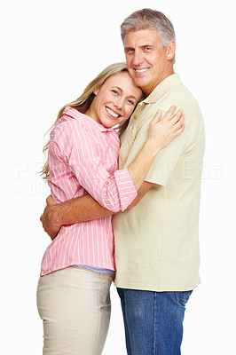 Buy stock photo Portrait of mature couple hugging each other over white background