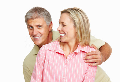 Buy stock photo Portrait of playful mature couple in love over white background