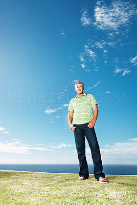 Buy stock photo Full length portrait of handsome mature man standing at park