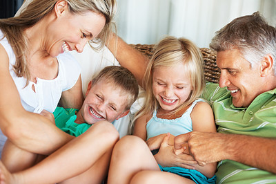 Buy stock photo Happy family having fun together at home