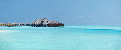 Buy stock photo Image of a beautiful beach house in middle of water - Paradise