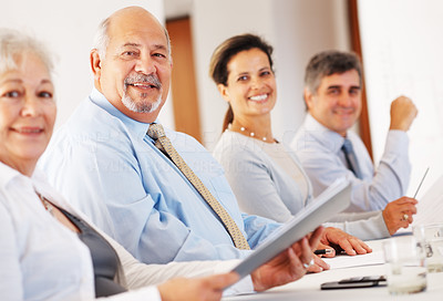 Buy stock photo Portrait of happy group of business associates in row during meeting