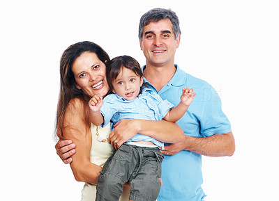 Buy stock photo Portrait of mature parents with little son isolated on white background