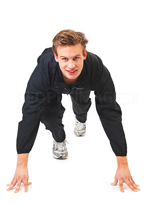 Buy stock photo Young athletic man working out. Ready to run!
