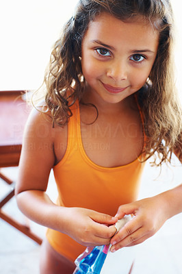 Buy stock photo Closeup of smiling little girl ready to go for scuba diving