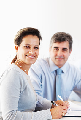Buy stock photo Portrait of happy business man and woman signing document