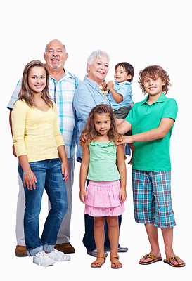 Buy stock photo Portrait of grand parents with grand children on white background