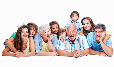 Buy stock photo Family lying together smiling at the camera, isolated on white - copyspace