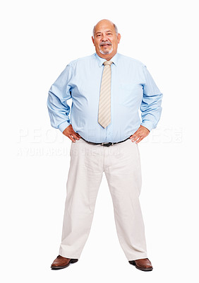Buy stock photo Full length of senior business man standing confidently on white background