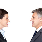 Two happy corporate people looking at each other