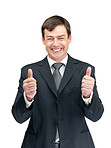 Good luck - Happy businessman with thumbs up gesture