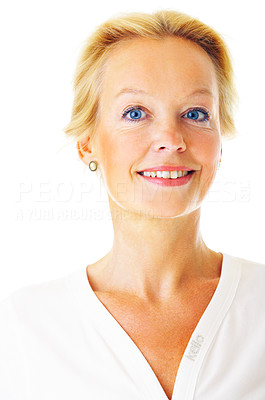 Buy stock photo Portrait of a mature woman smiling at the camera isolated on a white background