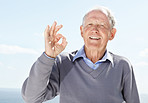 Happy old man showing okay sign - Outdoor