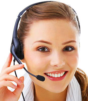 Buy stock photo Closeup portrait of a smiling young receptionist isolated over white background