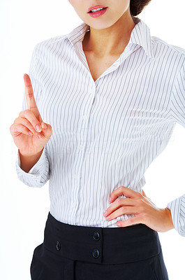 Buy stock photo Close-up of a model in business attire, without face.