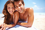 Smiling couple on beach