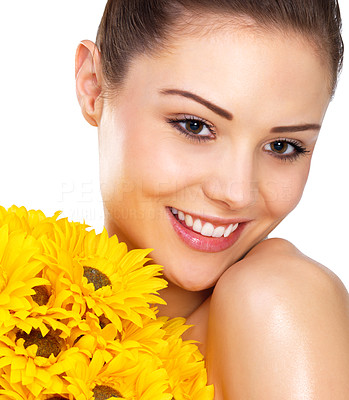 Buy stock photo Bright beauty posing with yellow flowers, isolated on white - copyspace