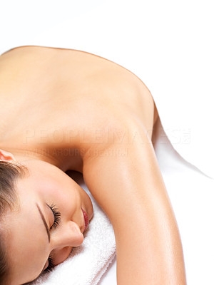 Buy stock photo Beautiful girl resting, waiting for massage at the spa. Or maybe in bed at home?