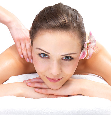 Buy stock photo Massaging hands and a smiling face. Portrait of a pretty young woman getting a massage at the day spa