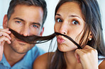 Couple with fake mustache