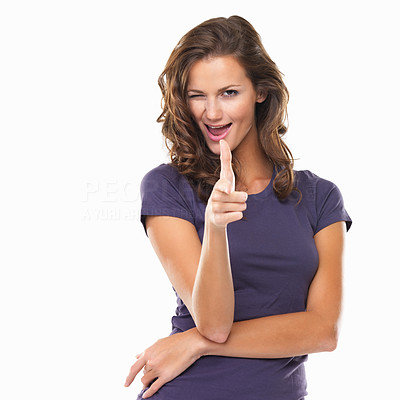 Buy stock photo Portrait of woman pointing at you and blinking an eye on white background