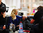 Actual behind scene of workshop - Model Cecilie being interviewed for television