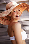Cheerful woman smiling