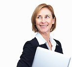 Happy mature businesswoman with laptop in hand