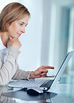 Mature businesswoman pointing at the screen of laptop