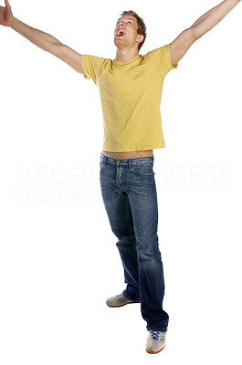 Buy stock photo Young man being very happy