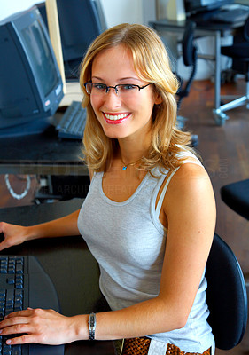 Buy stock photo Female casual business woman doing work.