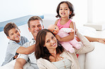 Family having good time at home