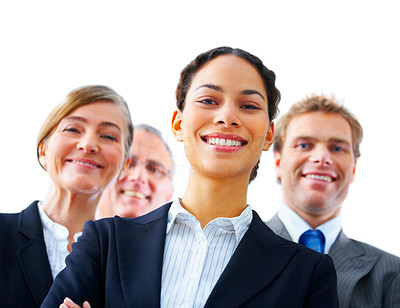 Buy stock photo Young business woman - young business woman with her colleagues in the background