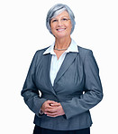 Portrait of successful mature business lady smiling over white