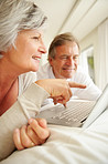 Old woman pointing out something on the laptop screen to a man