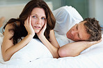 Unhappy female having problems in bed with husband